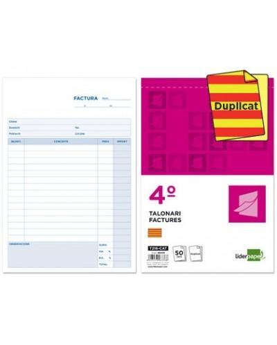 Talonario liderpapel facturas cuarto original y copia t216 con iva texto en catalan