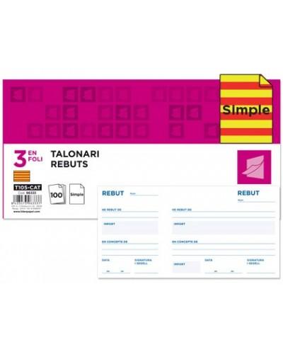 Talonario liderpapel recibos 3 fº original t105 con matriz texto en catalan