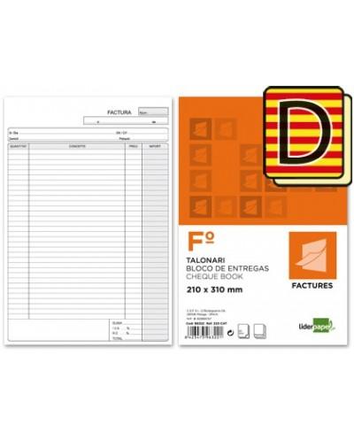 Talonario liderpapel facturas folio original y copia t223 con iva texto en catalan