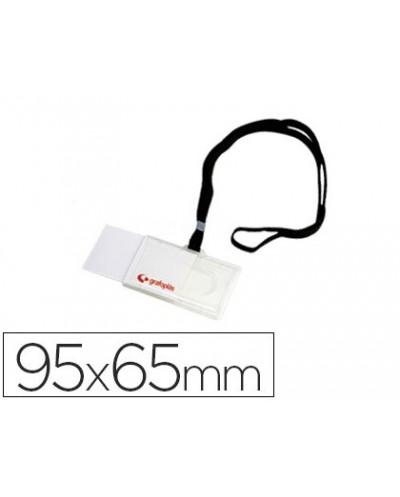 Identificador con cordon plano negro grafoplas 65x95 mm con apertura lateral