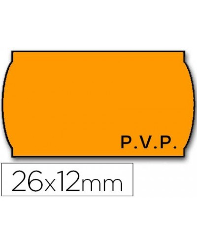 Etiquetas meto onduladas 26 x 12 mm fluor naranja pvp adh 2 rollo 1500 etiquetas troqueladas para etiquetadora tovel