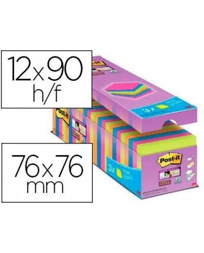 Bloc de notas adhesiva quita y pon post it super sticky 76x76 mm 90 hojas colores surtidos pack de 21 3